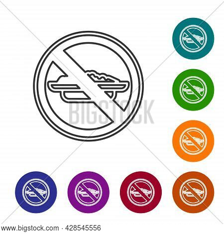 Black Line Food No Diet Icon Isolated On White Background. Healing Hunger. Set Icons In Color Circle
