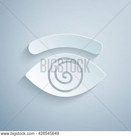 Paper Cut Hypnosis Icon Isolated On Grey Background. Human Eye With Spiral Hypnotic Iris. Paper Art