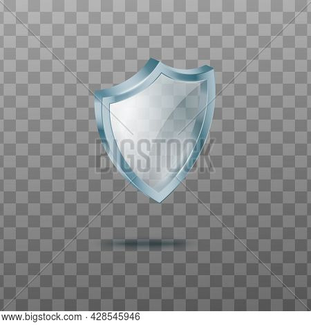 Sign Of Transparent Glass Guard Shield, Symbol Of Security And Protection.