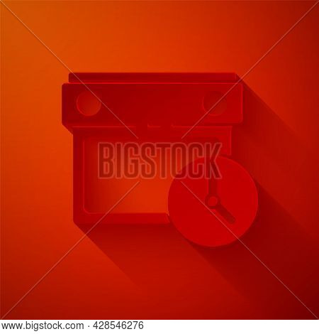 Paper Cut Calendar And Clock Icon Isolated On Red Background. Schedule, Appointment, Organizer, Time