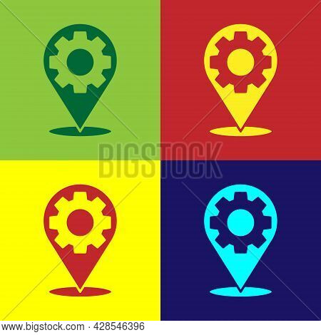 Pop Art Car Service Icon Isolated On Color Background. Auto Mechanic Service. Repair Service Auto Me
