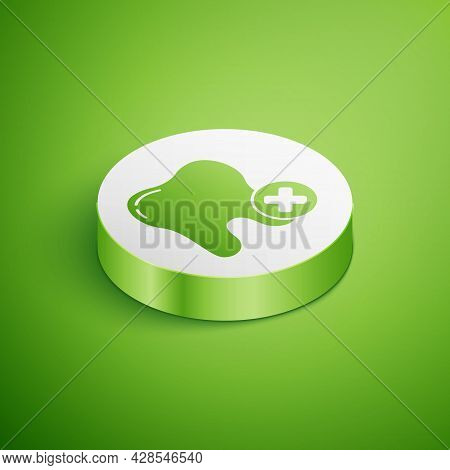 Isometric Tooth With Caries Icon Isolated On Green Background. Tooth Decay. White Circle Button. Vec