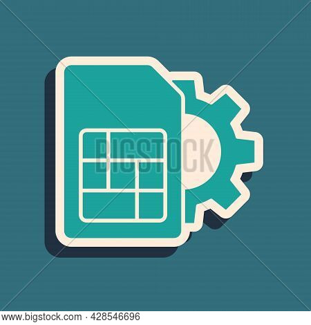 Green Sim Card Setting Icon Isolated On Green Background. Mobile Cellular Phone Sim Card Chip. Mobil