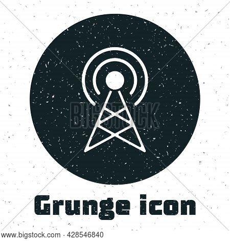 Grunge Antenna Icon Isolated On White Background. Radio Antenna Wireless. Technology And Network Sig