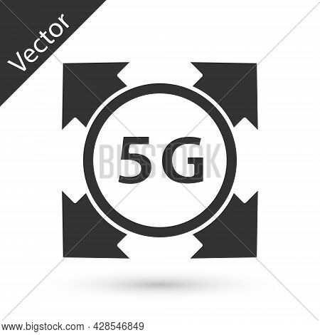 Grey 5g New Wireless Internet Wifi Connection Icon Isolated On White Background. Global Network High