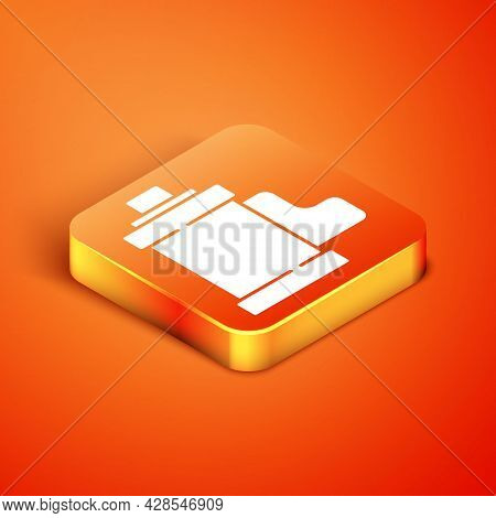 Isometric Camera Vintage Film Roll Cartridge Icon Isolated On Orange Background. 35mm Film Canister.