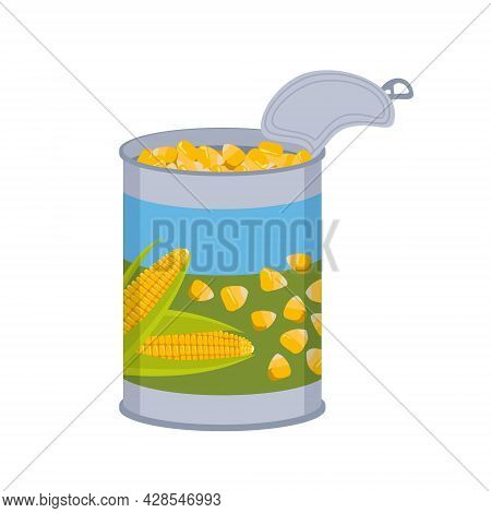 Tin Can With Corn Kernels. Tin Packaging With A Pattern Of Yellow Vegetables. Vitamin Source, Cookin