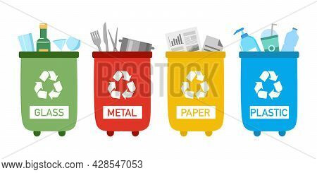 Set Of Recycle Trash Can With Sorted Garbage- Glass, Metal, Paper And Plastic In Flat Design On Whit