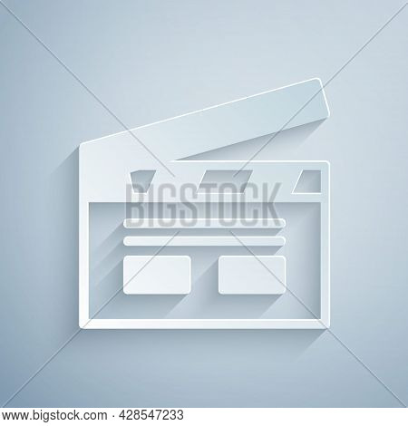 Paper Cut Bollywood Indian Cinema Icon Isolated On Grey Background. Movie Clapper. Film Clapper Boar