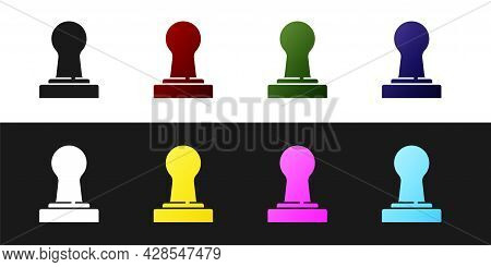 Set Coffee Tamper Icon Isolated On Black And White Background. Vector