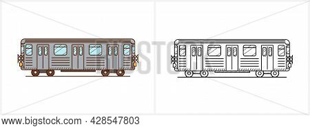 Metro Train Coloring Page. Subway Metro Side View