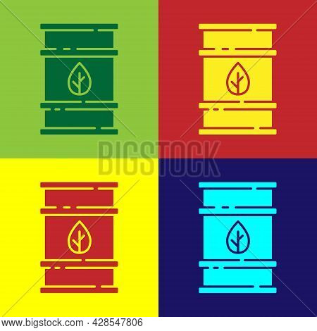 Pop Art Bio Fuel Barrel Icon Isolated On Color Background. Eco Bio And Canister. Green Environment A