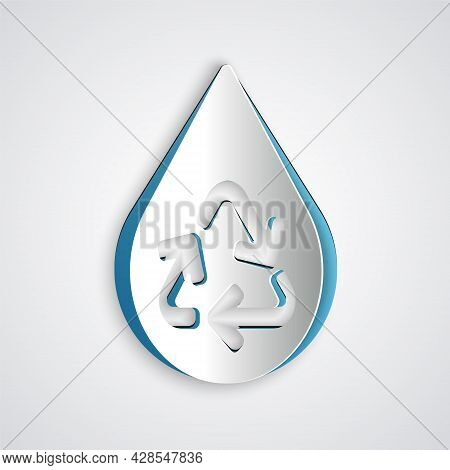 Paper Cut Recycle Clean Aqua Icon Isolated On Grey Background. Drop Of Water With Sign Recycling. Pa