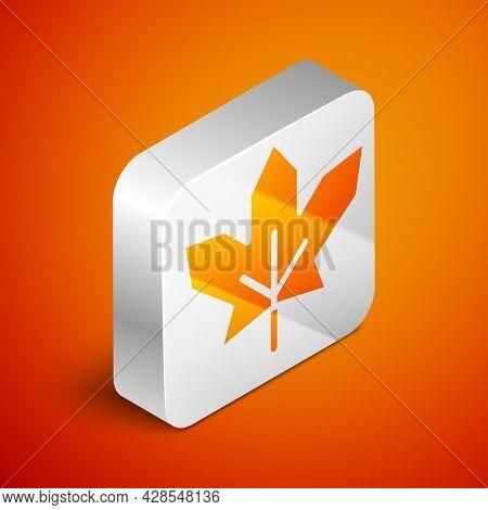 Isometric Canadian Maple Leaf Icon Isolated On Orange Background. Canada Symbol Maple Leaf. Silver S