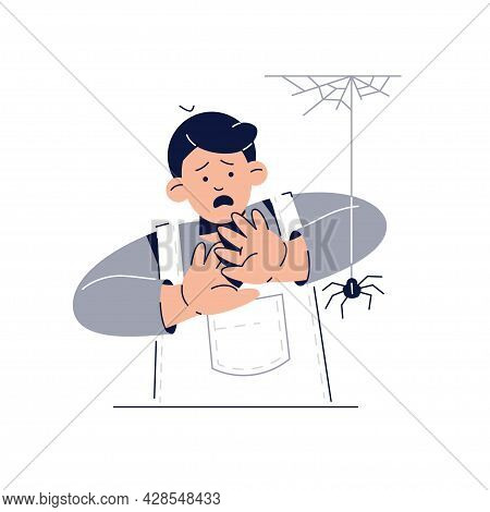 Fear Of Spiders, Arachnophobia Concept. Scared Kid Character Is Afraid Of Spider. Phobias, Childhood