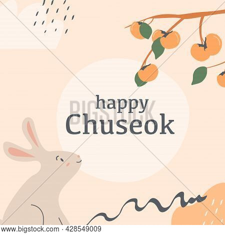 Mid Autumn Festival In Korea Greeting Card, Invitation With Jade Rabbit, Moon Silhouette And Persimm