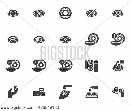 Contact Lens Vector Icons Set, Modern Solid Symbol Collection, Filled Style Pictogram Pack. Signs, L