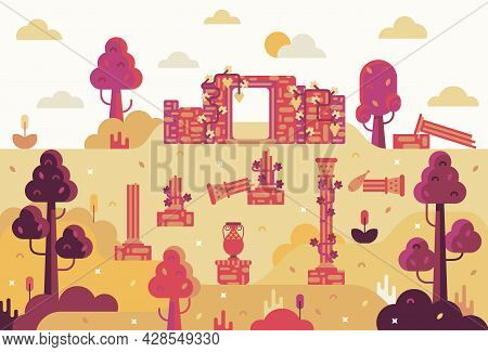 Vector Cartoon Illustration In Flat Design - Unearthed Remains Of An European Ancient Civilization