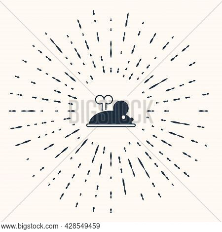 Grey Clockwork Mouse Icon Isolated On Beige Background. Wind Up Mouse Toy. Abstract Circle Random Do
