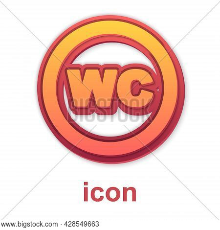 Gold Toilet Icon Isolated On White Background. Wc Sign. Washroom. Vector