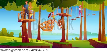 Adventure Park Rope Ladder. Kids, Man And Woman Climbing On Wooden Rungs And Timbers Hanging On Tree