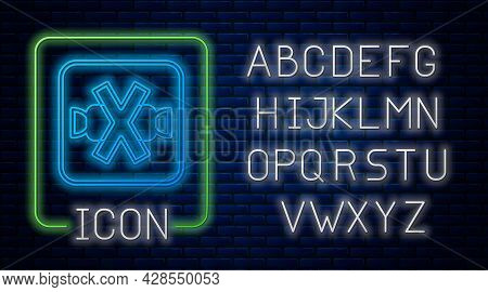 Glowing Neon No Sweets And Candies Prohibition Icon Isolated On Brick Wall Background. No Candy Forb