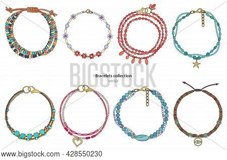 Collection Of Women's Bracelets . Color Illustration Isolated On A White Background. Vector