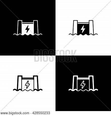 Set Hydroelectric Dam Icon Isolated On Black And White Background. Water Energy Plant. Hydropower. H