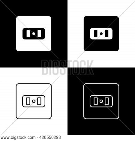 Set Electrical Outlet Icon Isolated On Black And White Background. Power Socket. Rosette Symbol. Vec