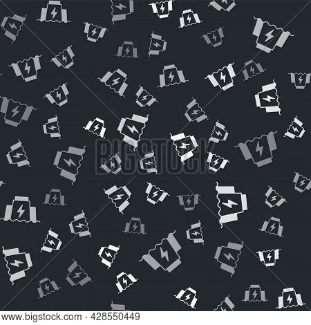 Grey Hydroelectric Dam Icon Isolated Seamless Pattern On Black Background. Water Energy Plant. Hydro