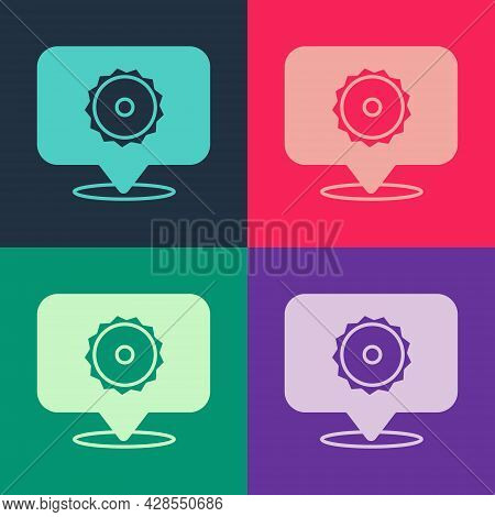 Pop Art Circular Saw Blade Icon Isolated On Color Background. Saw Wheel. Vector
