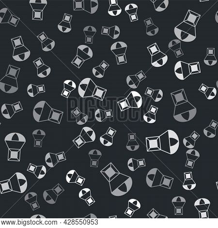 Grey Box Flying On Parachute Icon Isolated Seamless Pattern On Black Background. Parcel With Parachu