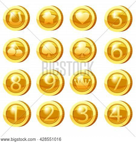 Set Of Golden Coins For Game Apps. Gold Icons Star, Heart, Numbers Symbols Game Ui, Gaming Gambling.