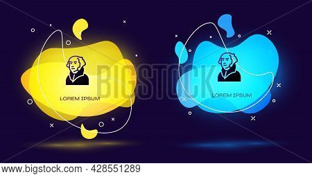 Black George Washington Icon Isolated On Black Background. Abstract Banner With Liquid Shapes. Vecto
