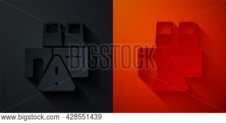 Paper Cut Shutdown Of Factory Icon Isolated On Black And Red Background. Industrial Building. Paper