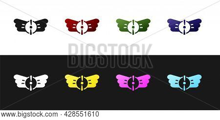 Set Aviation Emblem Icon Isolated On Black And White Background. Military And Civil Aviation Icons.