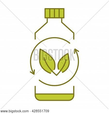 Biodegradable Plastic, Sign. Bio Plastic Bottle With Green Leaves. Turns To Plant Concept. Eco Frien