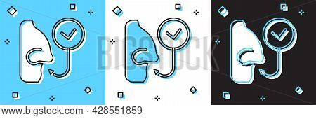 Set Healthy Breathing Icon Isolated On Blue And White, Black Background. Breathing Nose. Vector