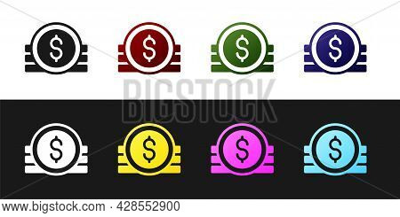 Set Ancient Coin Icon Isolated On Black And White Background. Vector