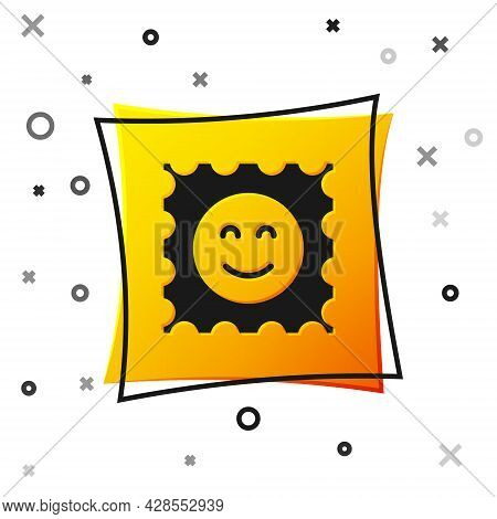 Black Lsd Acid Mark Icon Isolated On White Background. Acid Narcotic. Postmark. Postage Stamp. Healt