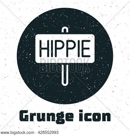 Grunge Peace Icon Isolated On White Background. Hippie Symbol Of Peace. Monochrome Vintage Drawing.