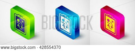 Isometric Planning Strategy Concept Icon Isolated On Grey Background. Hockey Cup Formation And Tacti