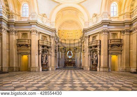 Turin, Piedmont Region, Italy - Circa August 2020: Royal Church In Reggia Di Venaria Reale.