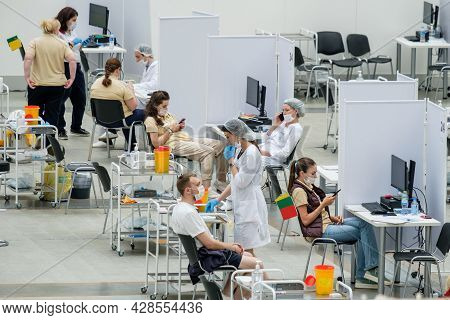 Moscow. Russia. 01 August 2021. A Modern Coronavirus Vaccination Center In Moscow. Doctors Vaccinate
