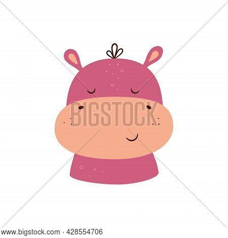 Cute Hippopotamus. Animal Kawaii Character. Funny Little Hippo Face. Vector Hand Drawn Illustration