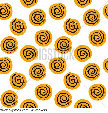 Cinnamon Rolls With Sugar. Seamless Pattern With Swirl Buns. Hand Drawn Isolated Vector Illustration