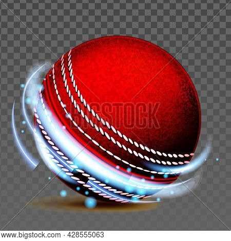 Cricket Ball Team Sportive Game Accessory Vector. Cricket Sportsman Play Tool For Hitting Or Bowling