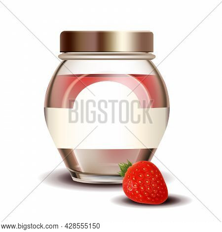 Strawberry Sweet Jam In Blank Glass Bottle Vector. Jar With Vitamin Natural Berry Jam. Home Made Sug