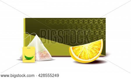 Tea Bag Blank Packaging And Lemon Piece Vector. Delicious Beverage Blank Package Box, Sachet With Te