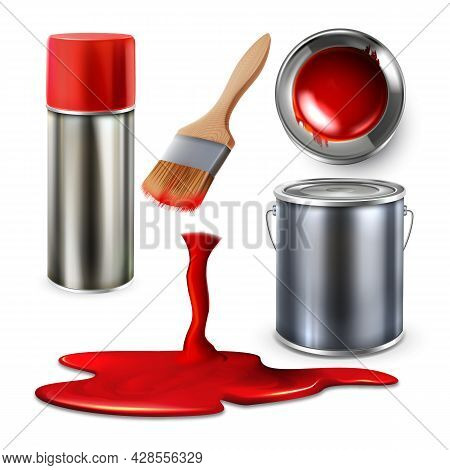 Paint Blank Bottle Spray And Container Set Vector. Collection Of Paint Bucket, Paintbrush And Fallin